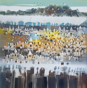 Ye-Win-Aung-My-Town-(1)-(2015)-30x30-Acrylic-and-Spray-on-Canvas