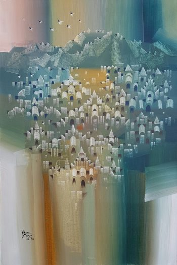 Ye-Win-Aung-My-Town-(4)-(2015)-24x36-Acrylic-and-Spray-on-Canvas