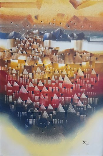 Ye-Win-Aung-My-Town-(5)-(2015)-24x36-Acrylic-and-Spray-on-Canvas
