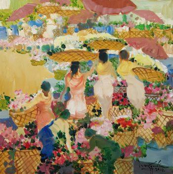 U Lun Gywe - Flowers Market (2012) 27x27