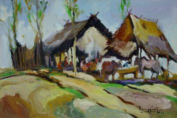 U-Lun-Gywe-Village-Life-(1)-(2011)-2x36-Oil