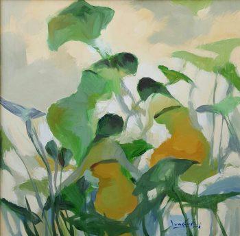 U-Lun-Gywe-With-the-Lotus-Leaves-(2006)-36x36-Oil